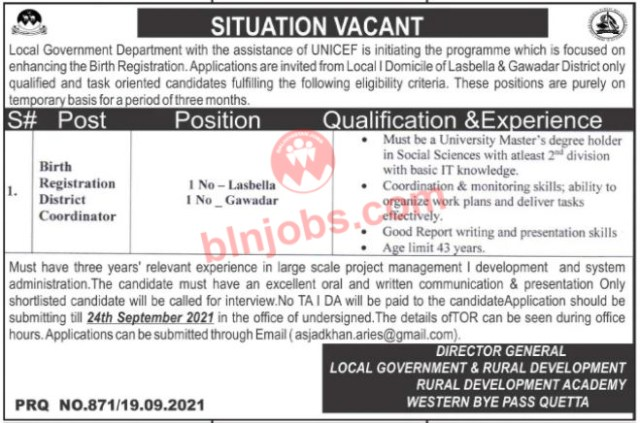 Jobs in Local Government Department Balochistan 2021