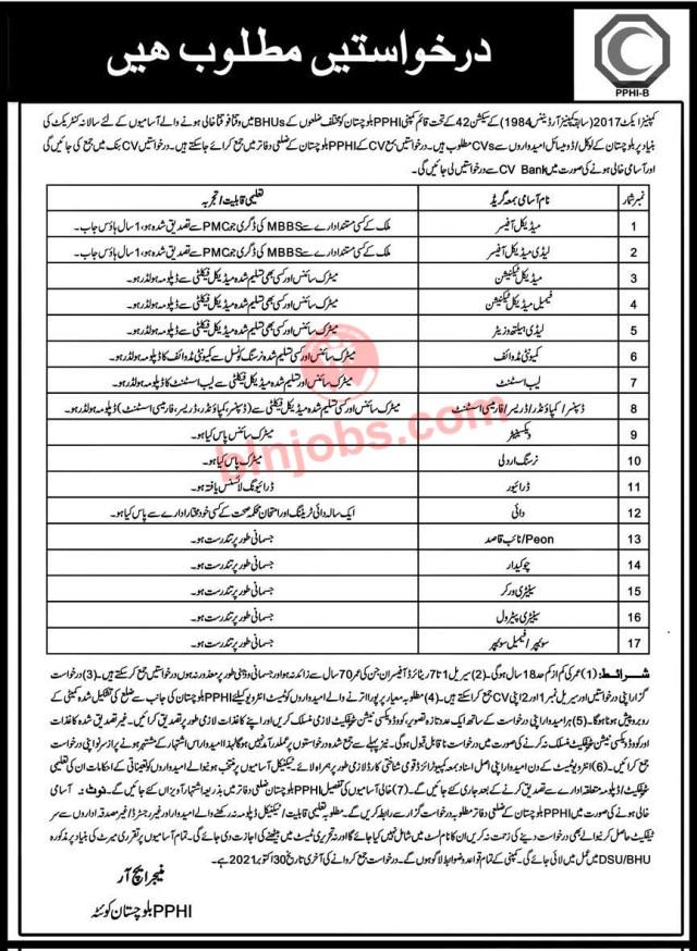 PPHI Balochistan Jobs 2021