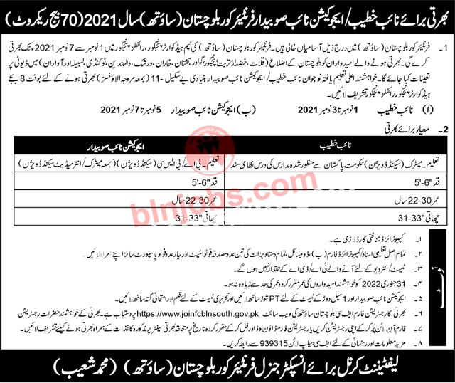 Frontier Corps FC Bln South Jobs 2021