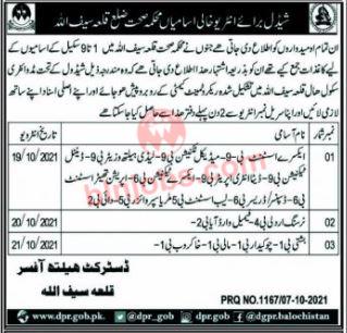 Health Department Killa Saifullah Interview Schedule 2021