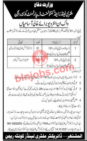 Military Lands and Cantonment Department Quetta Jobs 2021
