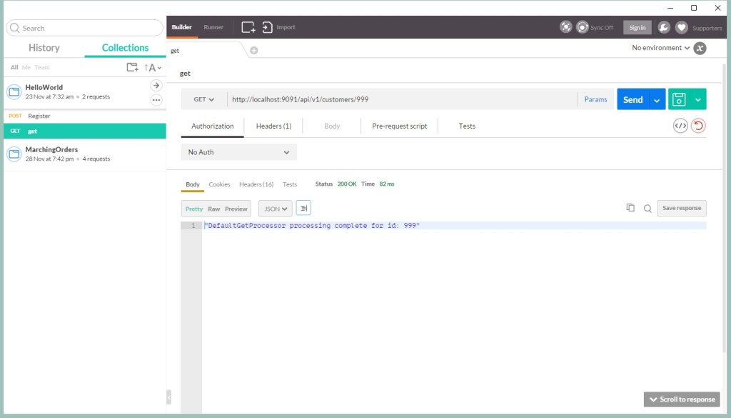 HelloWorld invoking Java REST API with Postman example