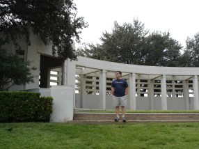 """My friend Ted at the """"Grassy Noll"""". It was fascinating to be in the spot where a President was killed. Fantastic museum."""