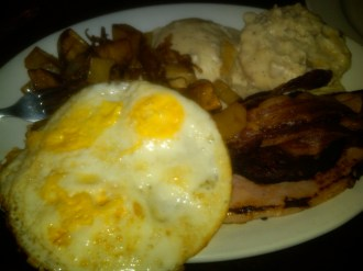 Greasy plate of eggs, bacon, and biscuits n gravy after midnight? Don't mind if I do! This was some greasy spoon in San Diego.
