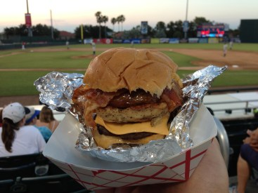 """This was the """"Richard Simmons"""". Hamburger, chicken, bacon, and a hotdog. Child's play."""
