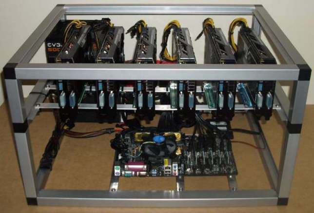An Ethereum mining rig with 6 GPUs
