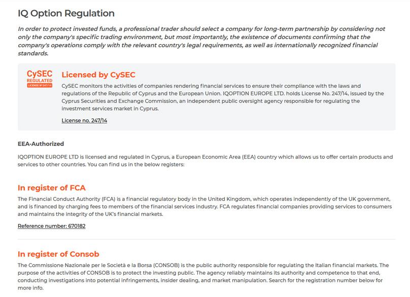 IQOption Regulations