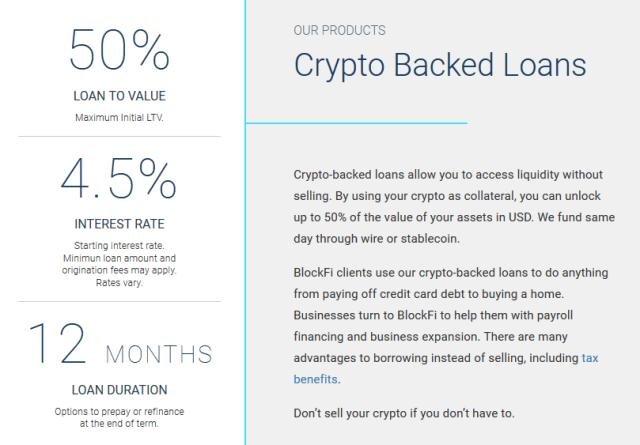 BlockFi加密貨幣支持的貸款