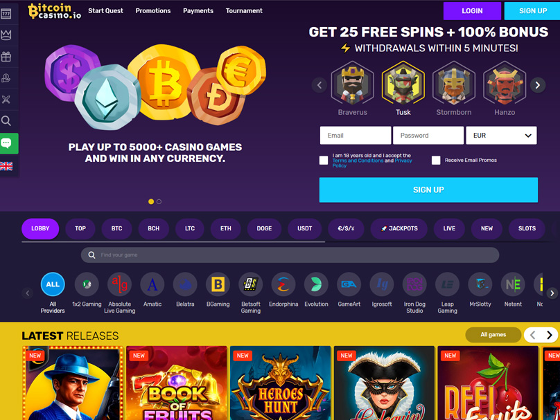 Bitcoin Casino Homepage