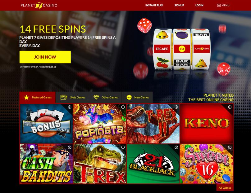 Planet 7 Casino Homepage