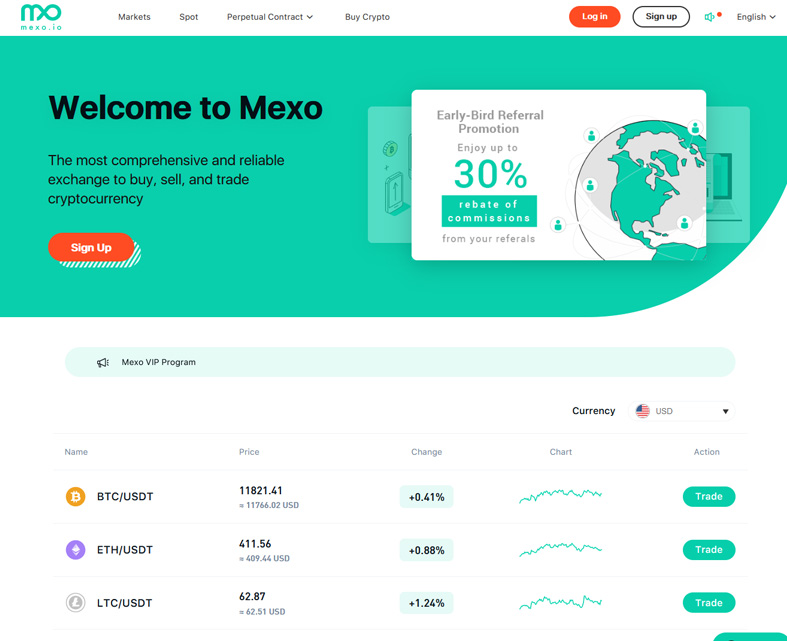 The Mexo homepage