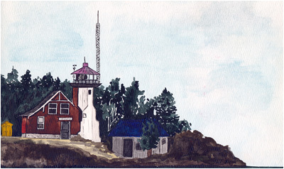 Eagle Harbor, Michigan Lighthouse – Watercolor by Phillip L. Block