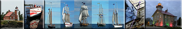 Lighthouses, fishing villages and boats, ships, and sailing vessels of the Great Lakes