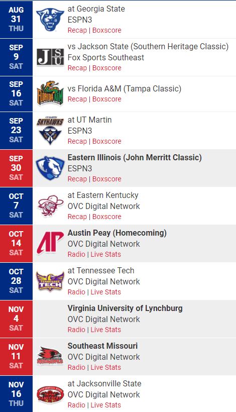 TSU Schedule