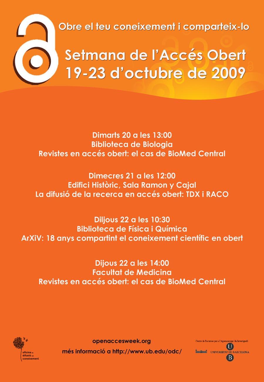 Cartell de la I Setmana Internacional de l'Accés Obert a la UB