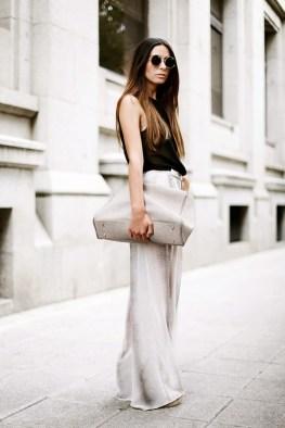 street style-minimal look-wide pants-tanktop-xl handbag-rounded sunglasses