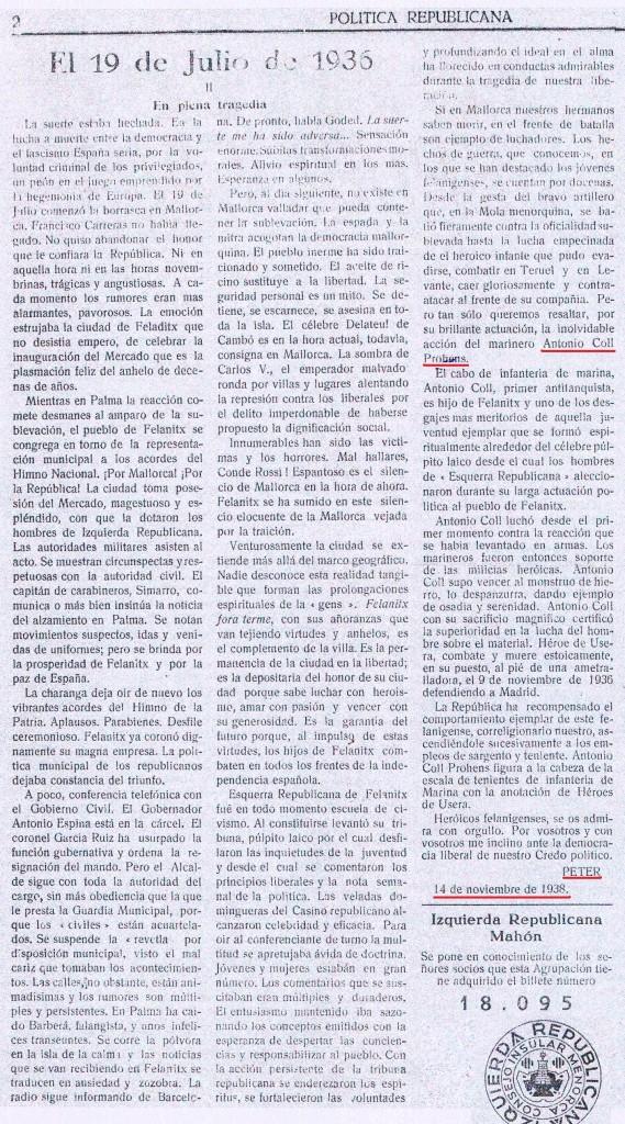 Article (de Pere Oliver i Domenge?) publicat el novembre de 1938 a Menorca