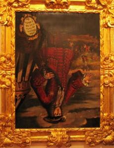 Felip V, cap per avall, tal com es pot veure al Museu de l'Almodí de Xàtiva