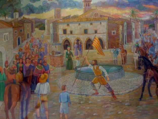 """Dibuix de l'historiador Guillem Morro que recrea Simó """"lo Tort"""" Ballester cridant a la revolta"""