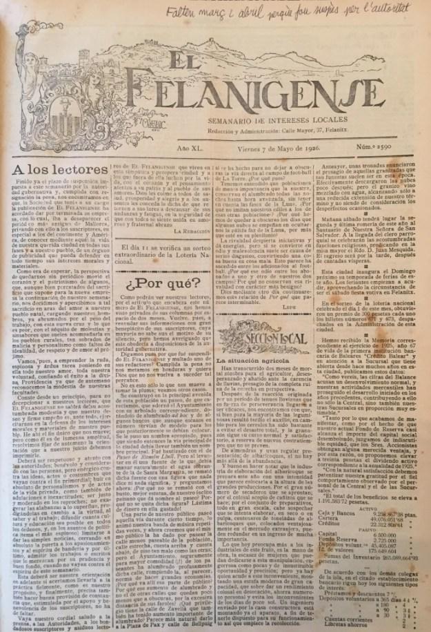 7-V-1926, reaparició del setmanari dos mesos i mig després de l'escarni a la Dictadura