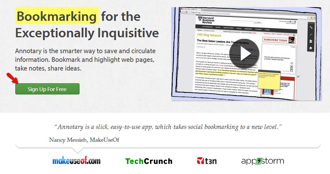 Annotary, marcador social per catalogar i fer anotacions en línia a pàgines web