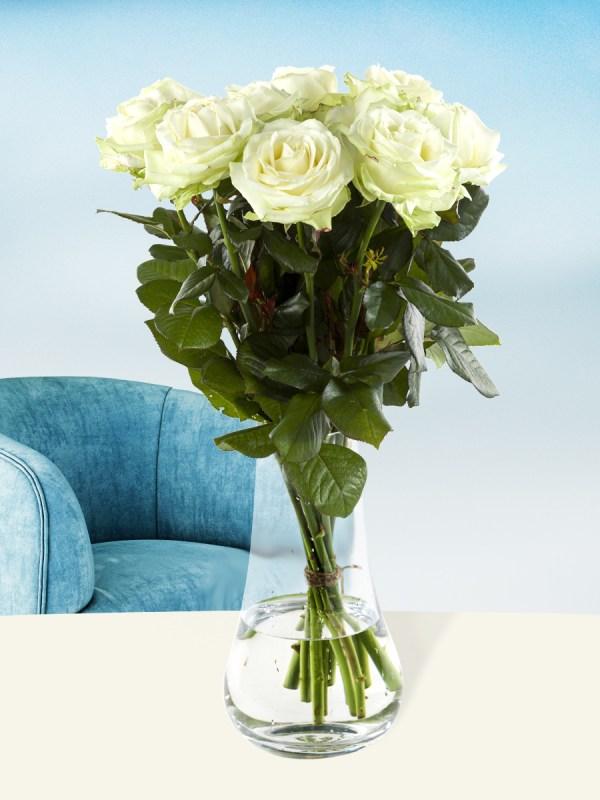 10 Weiße Rosen - Avalanche | Rosenstrauß online bestellen | Rosenversand Surprose.de