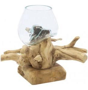 Decowood Glass Round Branch 30x27 cm ronde glazen vaas op boomstronk M decoratie