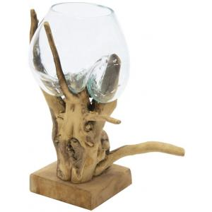 Decowood Glass Round Branch 30x40 cm ronde glazen vaas op boomstronk L decoratie