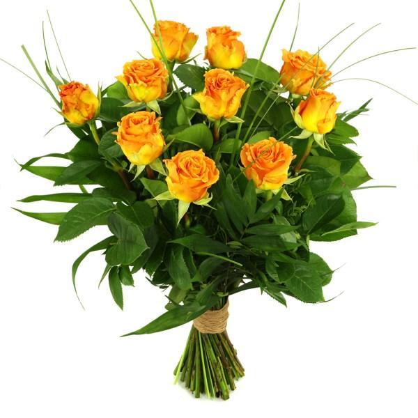 10 Oranje/zalm rozen bestellen of bezorgen
