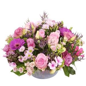 Biedermeier bloemstuk roze tinten bestellen of bezorgen