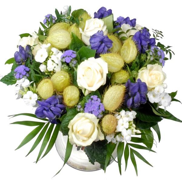 Blauw paars wit boeket bestellen of bezorgen