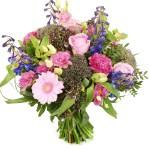 Boeket bloemen roze paars bezorgen bestellen of bezorgen