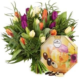 Boeket tulpen en tulpenchocolade bestellen of bezorgen