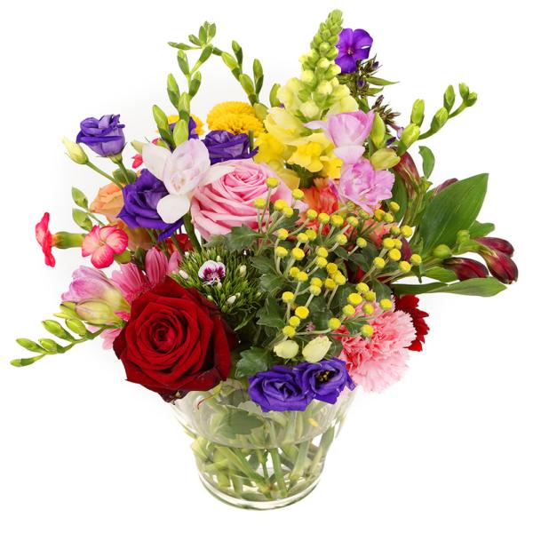 Bonte bloemen in glazen vaasje bestellen of bezorgen