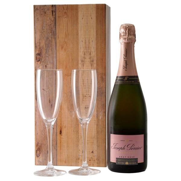 Champagne Joseph Perrier Rosé en champagne glazen bestellen of bezorgen