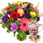 Fel gekleurde bloemen en Moederdag mok bestellen of bezorgen