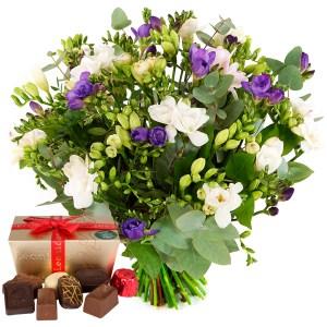 Freesia bloemen en Leonidas bestellen of bezorgen