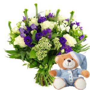 Geboorte jongen bloemen en knuffel versturen bestellen of bezorgen