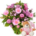 Geboorte meisje bloemen en knuffel bestellen bestellen of bezorgen