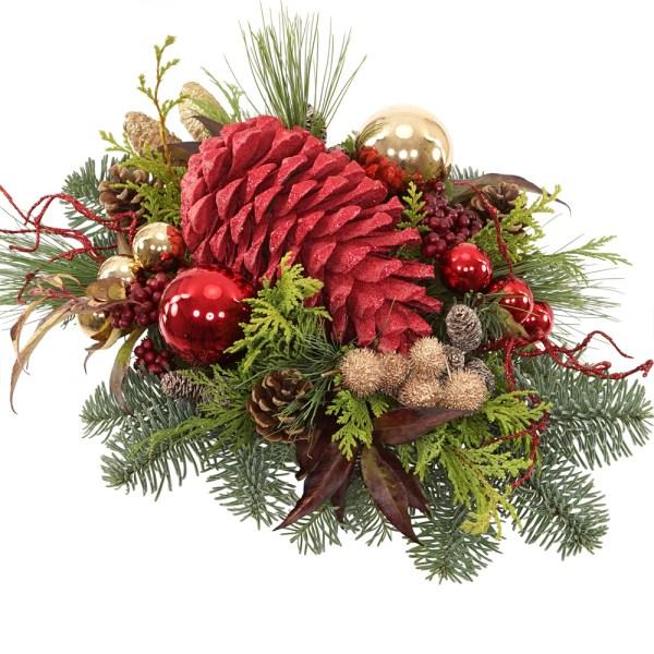Grote glitter dennenappel kerststuk versturen bestellen of bezorgen