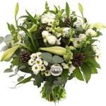 Kerstboeket witte bloemen bezorgen bestellen of bezorgen
