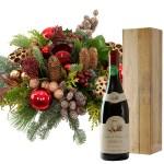 Kerststuk en Franse rode wijn bestellen of bezorgen
