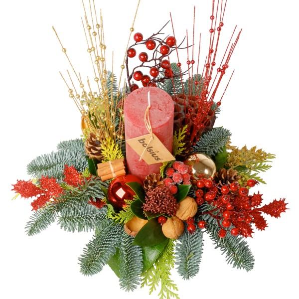 Kerststuk met bolsius kaars bestellen of bezorgen