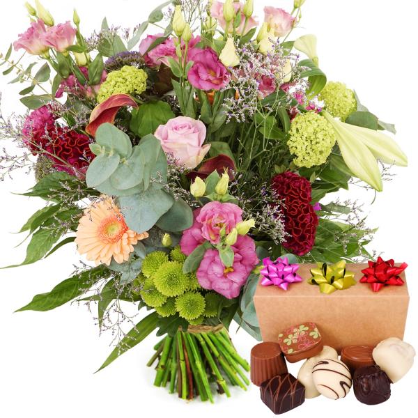 Landelijke bloemen met bonbons versturen bestellen of bezorgen