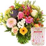 Moederdag boeket bloemen met geurkaars versturen bestellen of bezorgen
