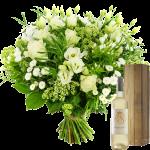 Moederdag witte bloemen en witte wijn bezorgen bestellen of bezorgen