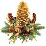 Nieuwjaars kerststuk met gouden dennenappel bestellen of bezorgen