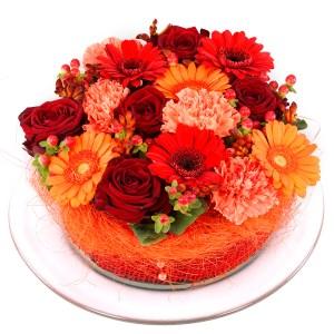 Oranje rode bloementaart versturen bestellen of bezorgen