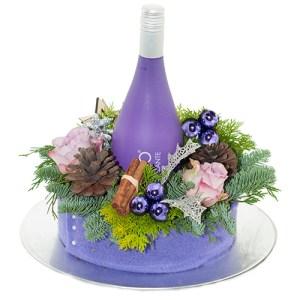 Paars kerst arrangement met prosecco bestellen of bezorgen online