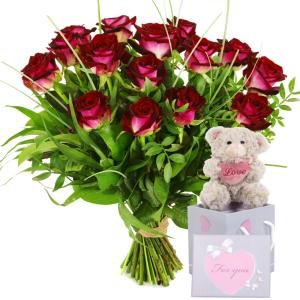 Rode rozen bezorgen met knuffelbeertje bestellen of bezorgen